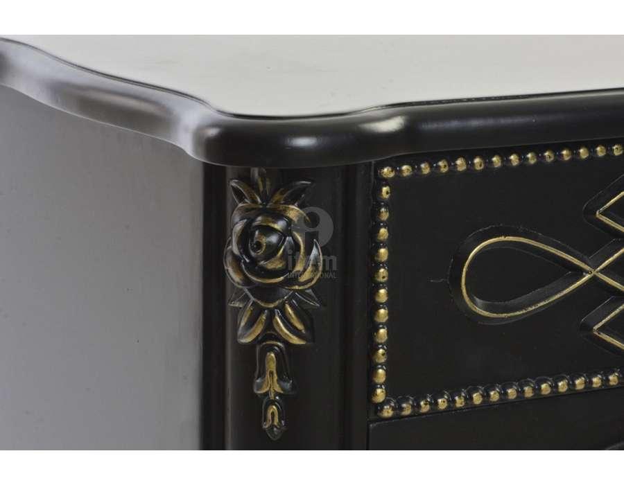 Chevet noir sculpté 2 portes raffiné Kasur