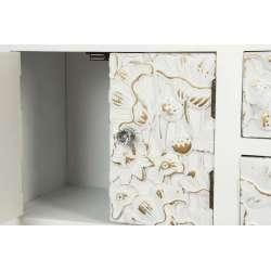 Console blanche droite sculptée 6 tiroirs Emmy