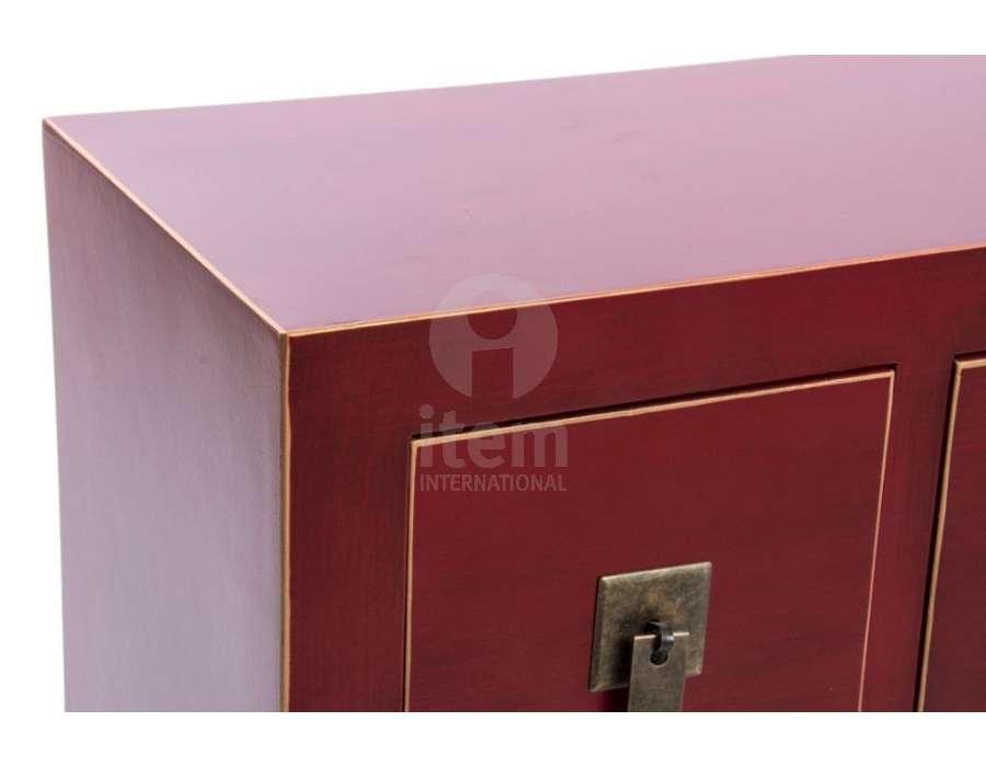 Meuble chinois rouge avec 8 tiroirs et un palcard meuble for Meuble bas pour tele