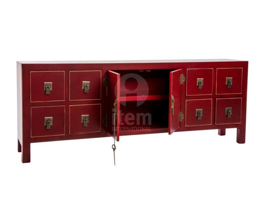 Meuble Chinois Rouge Avec 8 Tiroirs Et Un Palcard Meuble
