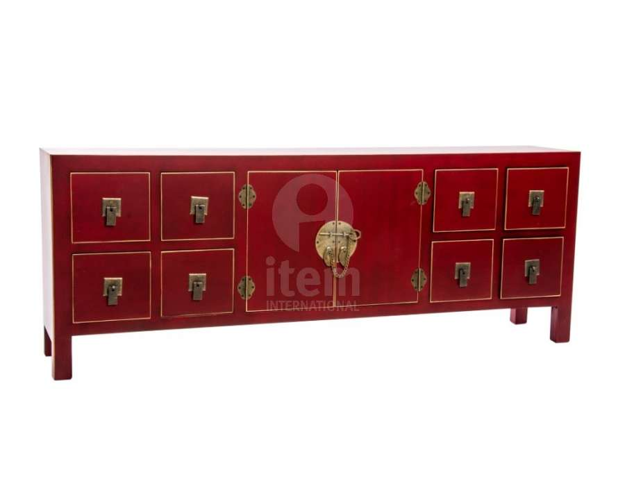 meuble chinois rouge avec 8 tiroirs et un palcard meuble. Black Bedroom Furniture Sets. Home Design Ideas