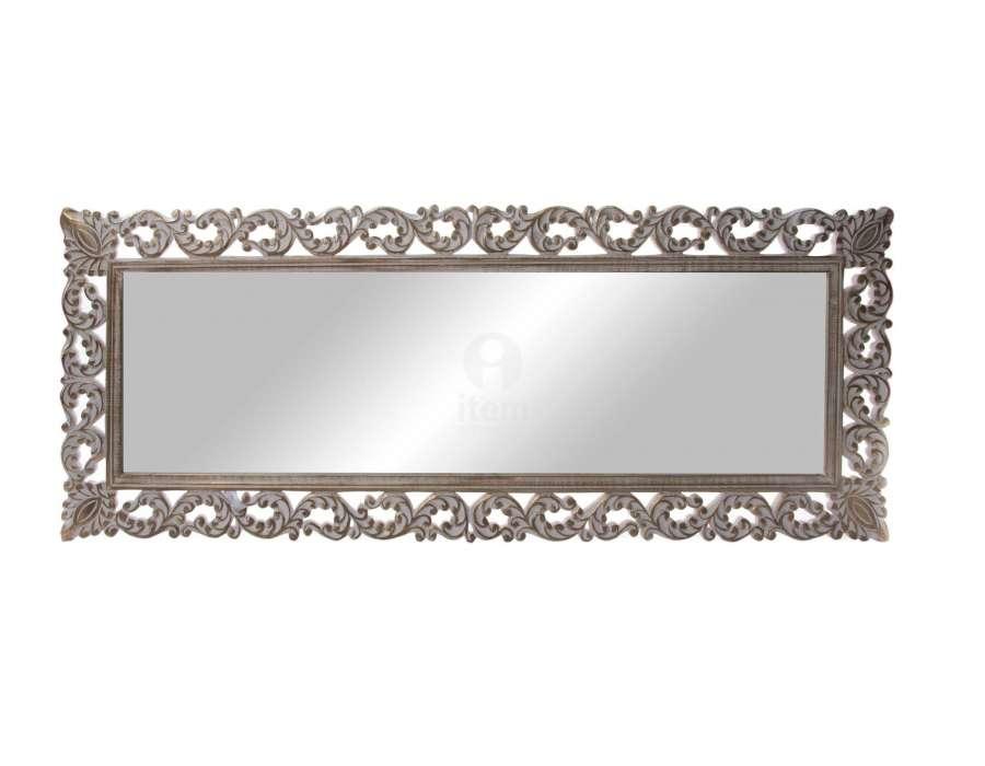 Grand miroir cérusé pointes dorées