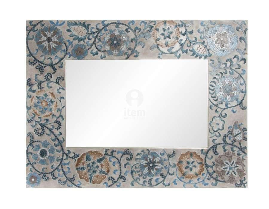Miroir mosaiques bleues