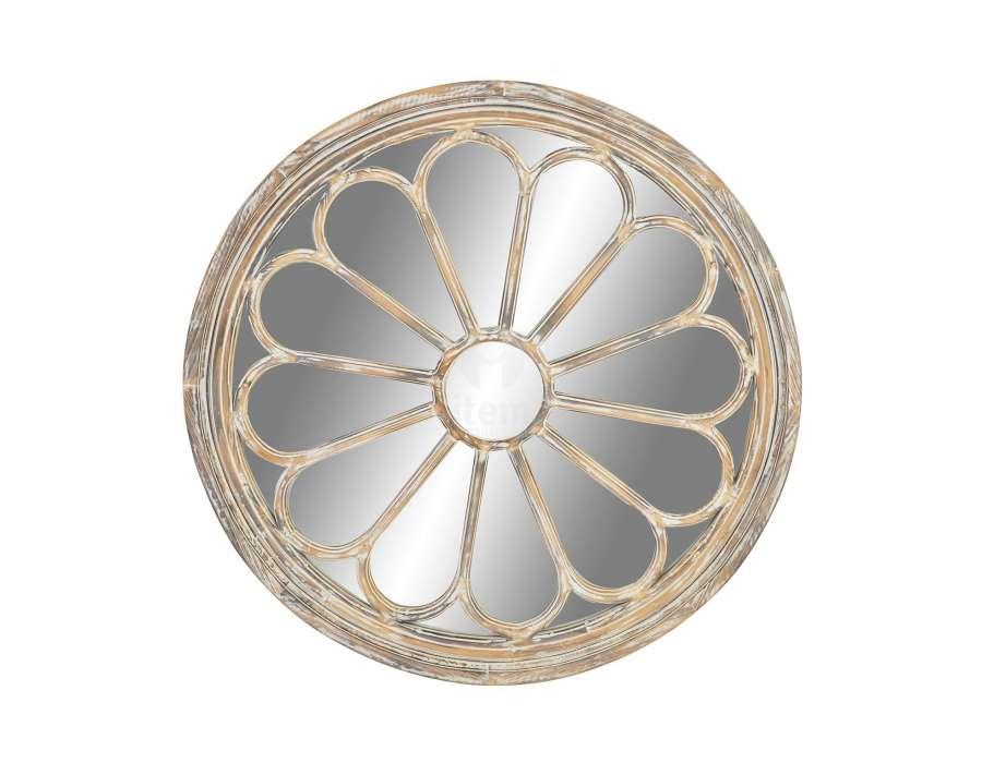 Miroir rond cérusé décoratif fleur