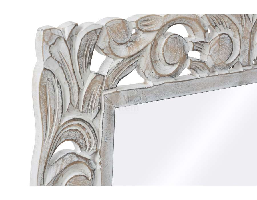 Miroir bois cérusé sculpté floral