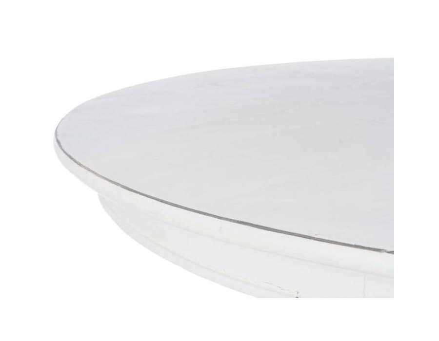 Table ronde 120 cm en bois cérusé crème