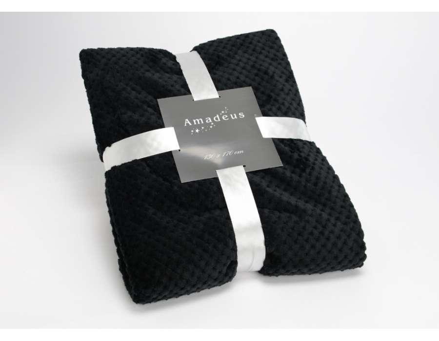 Plaid noir damier Amadeus 170 cm