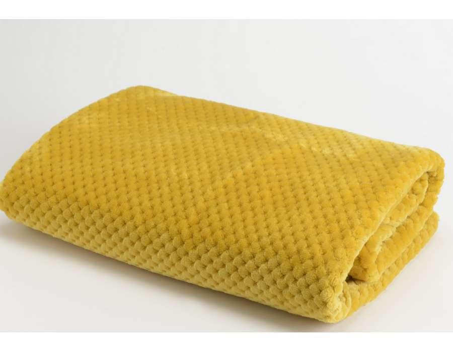 Plaid moutarde damier Amadeus 170 cm