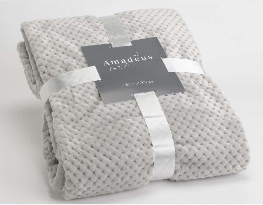Plaid gris clair damier Amadeus 170 cm