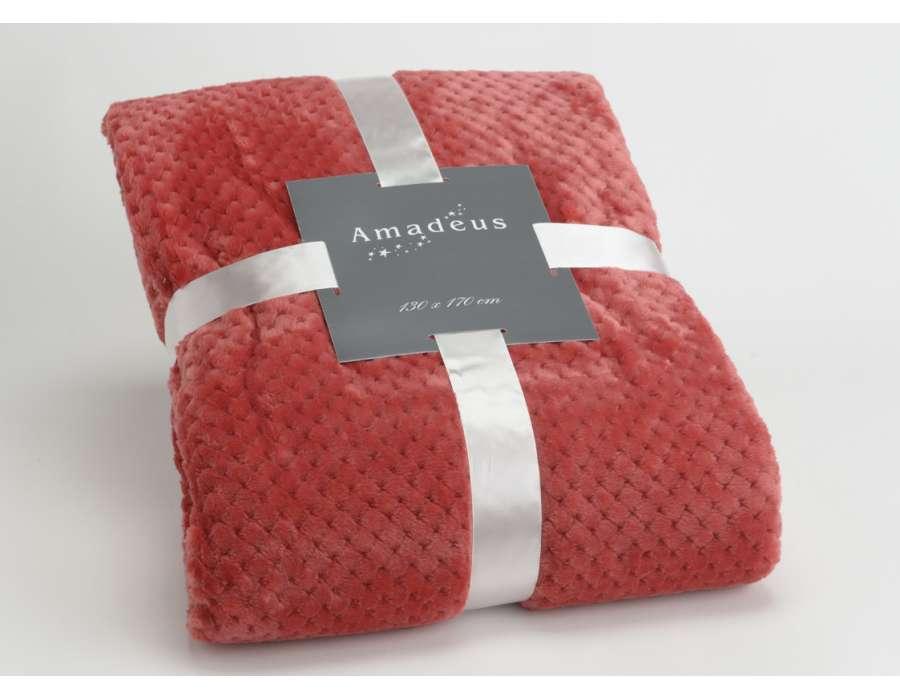 Plaid cranberry damier Amadeus 170 cm