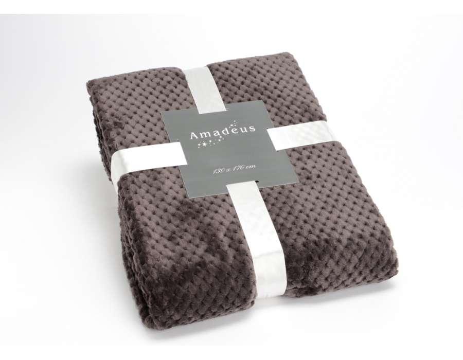 Plaid chocolat damier Amadeus 170 cm