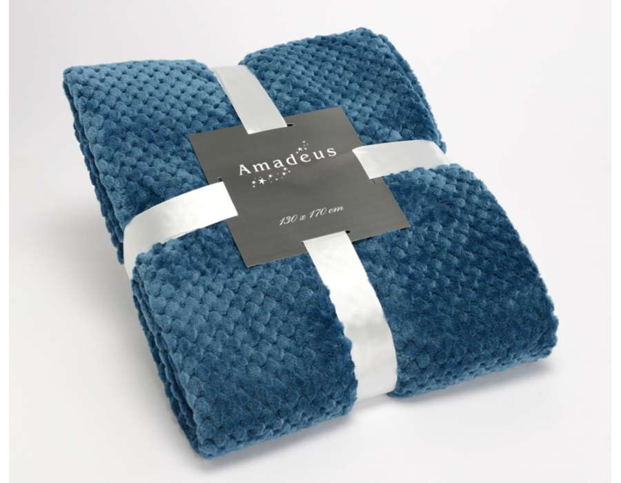 Plaid bleu nuit damier Amadeus 170 cm