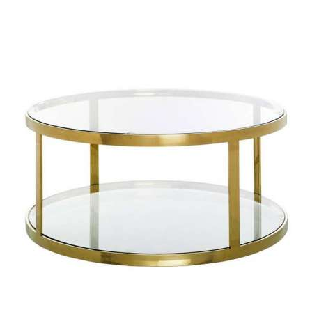 Table Basse Ronde Doree Et Verre Glamour