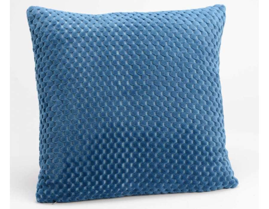 Coussin bleu damier par 2