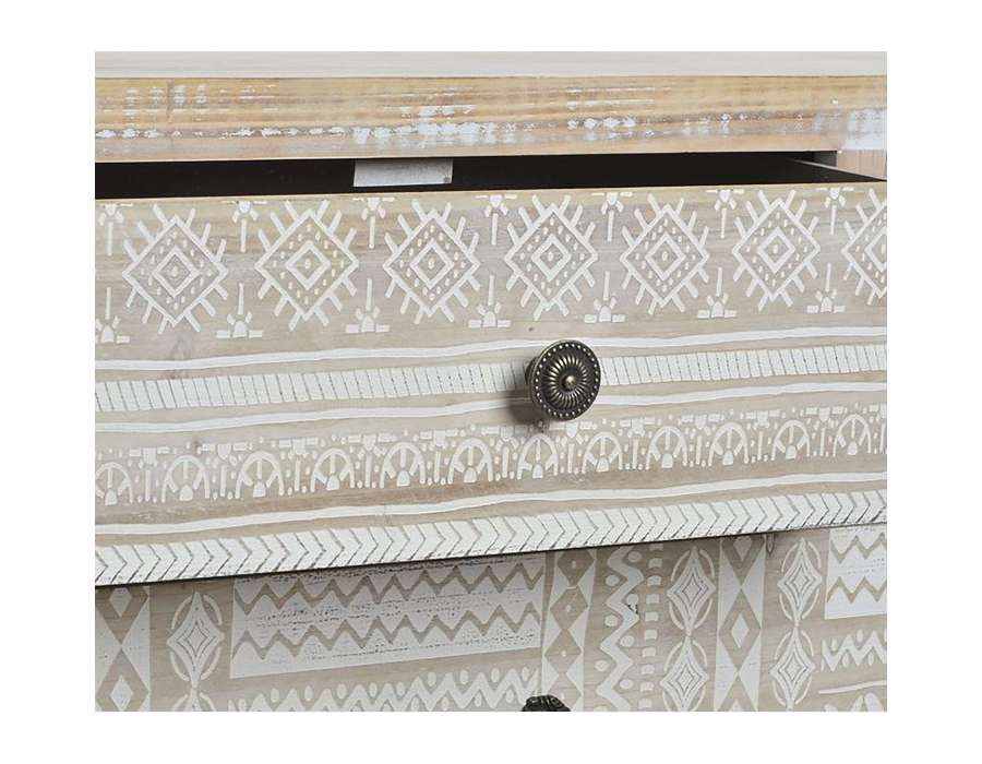 Commode cérusé 5 tiroirs décorés Sofia