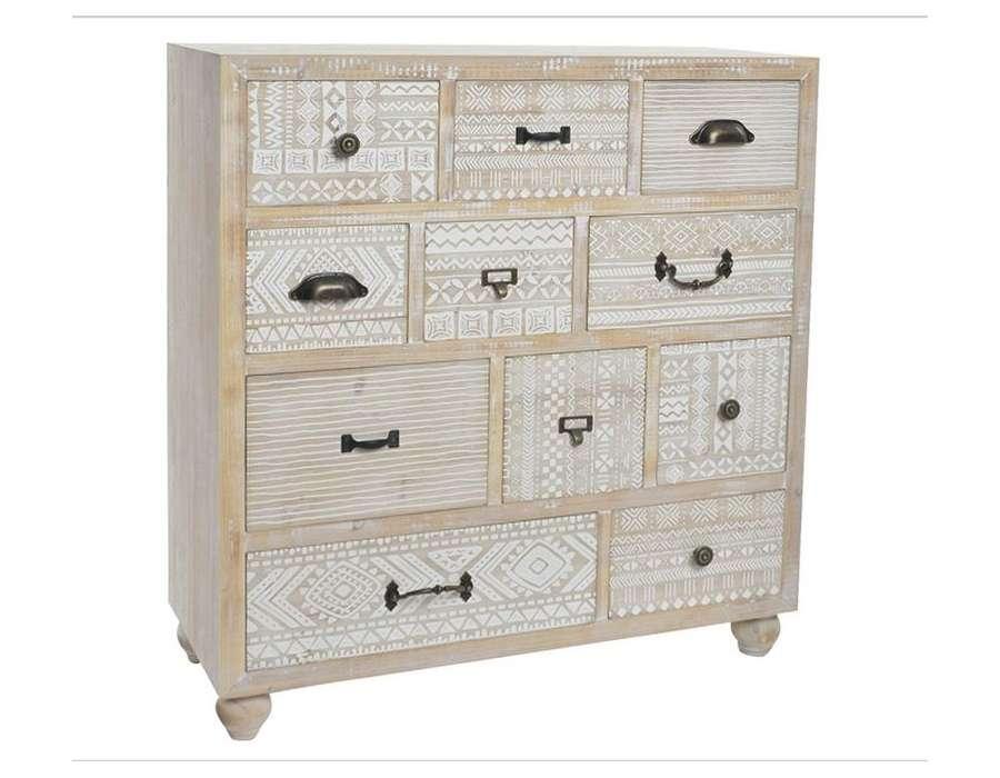Commode cérusé 11 tiroirs décorés Sofia