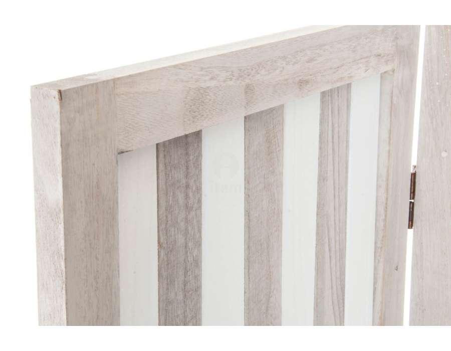 Paravent en bois étagères blanc