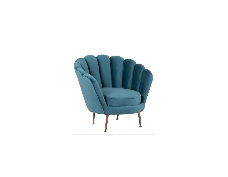 Fauteuil velours bleu forme fleur