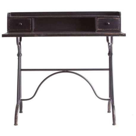 Bureau industriel métal noir vieilli avec 3 tiroirs vintage