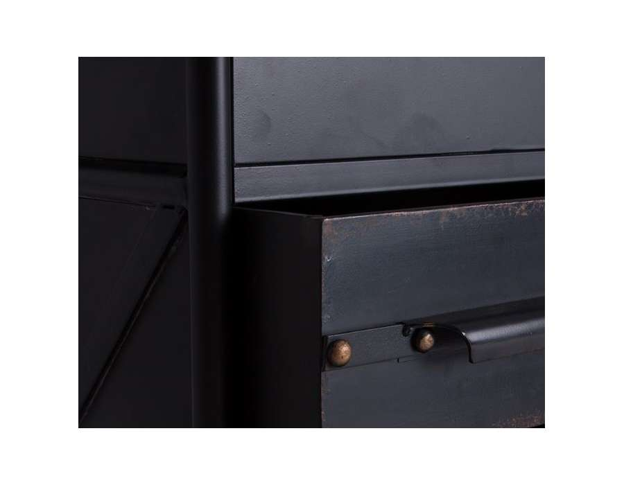 Bureau industriel noir vieilli 4 tiroirs