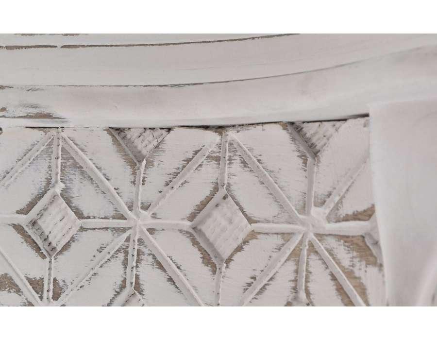 Console baroque blanche patinée