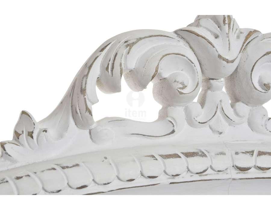 Tête de lit baroque blanche patinée 160 cm