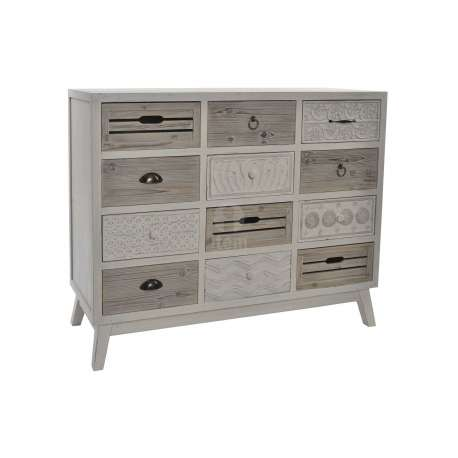 commode 12 tiroirs blanc vieilli ou bois naturel robuste. Black Bedroom Furniture Sets. Home Design Ideas