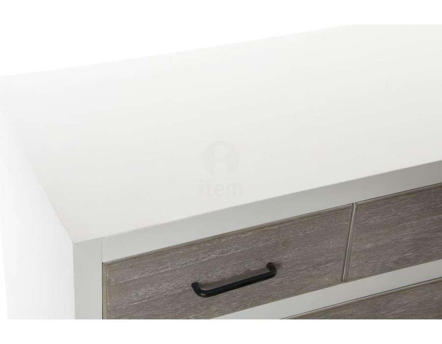 Commode contemporaine blanche tiroirs cendrés
