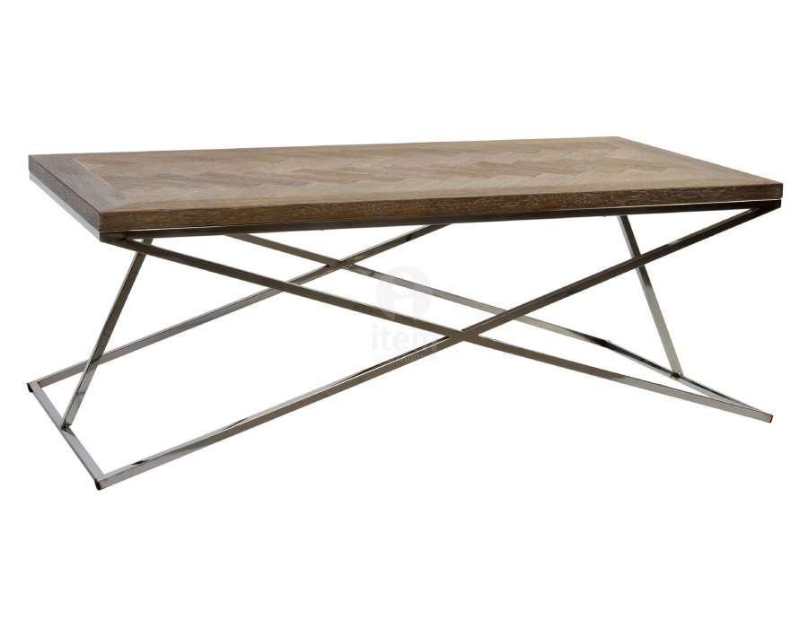 Table basse bois et acier moderne rectangulaire