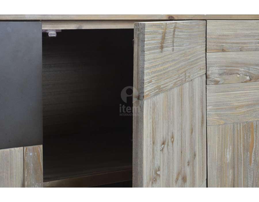 Buffet contemporain métal bois 4 portes