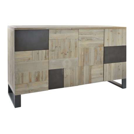 buffet de 160 cm 4 portes contemporain m tal et bois. Black Bedroom Furniture Sets. Home Design Ideas