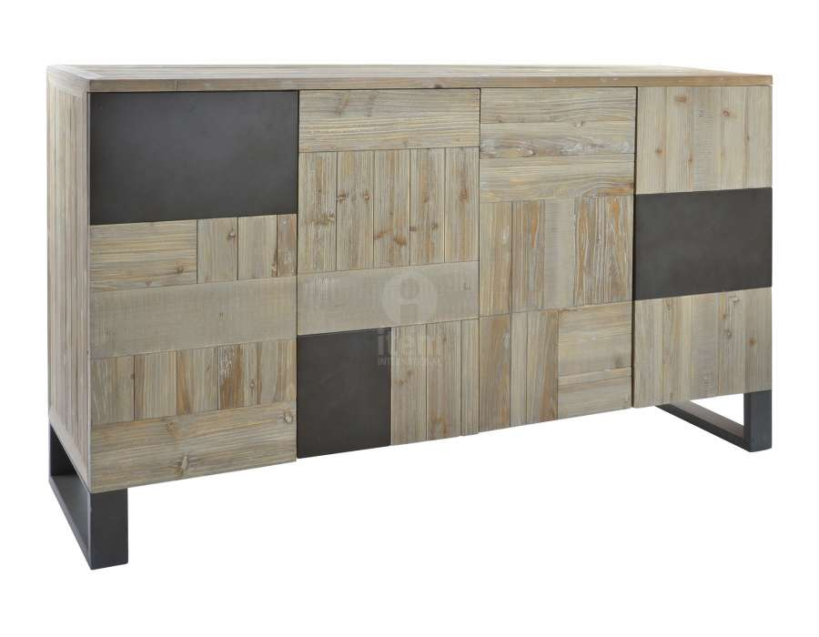buffet de 160 cm 4 portes contemporain m tal et bois. Black Bedroom Furniture Sets. Home Design Ideas
