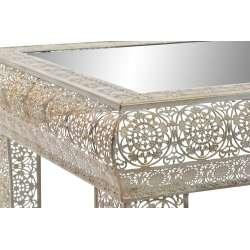 Table basse marocaine en fer sculpté et miroir