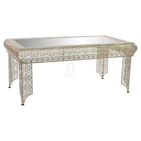table basse orientale en fer avec un plateau miroir pas chere. Black Bedroom Furniture Sets. Home Design Ideas