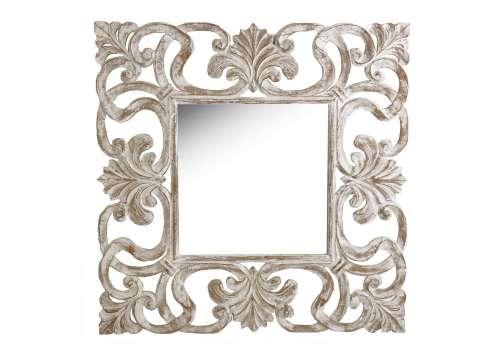 Miroir carré bois cérusé de teck