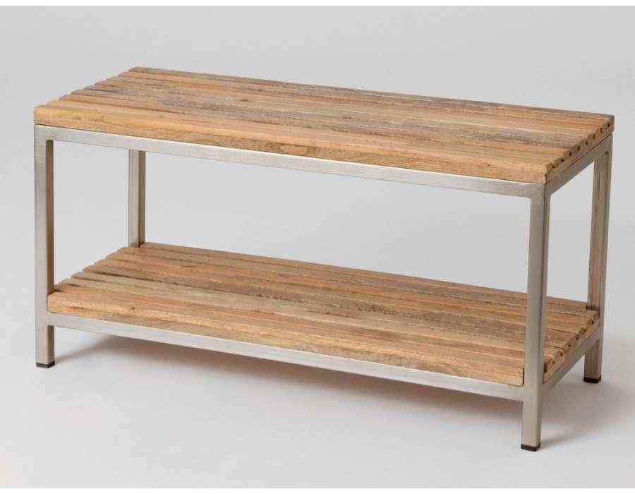 Bout de lit bois et métal contemporain