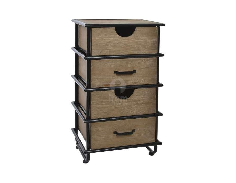 Chiffonnier contemporain bois et métal 4 tiroirs