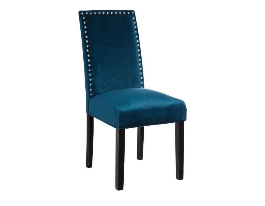 chaise bleue en velours dossier haut beige campagne chic. Black Bedroom Furniture Sets. Home Design Ideas