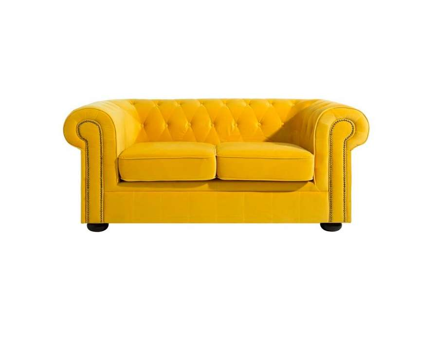 Canapé chesterfield velours jaune Elyo