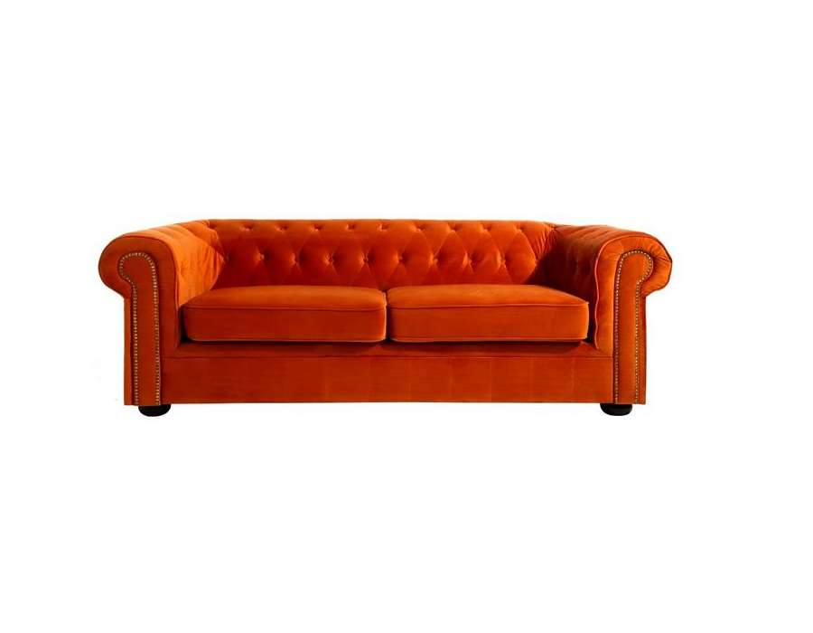 Canapé chesterfield velours orange Elyo