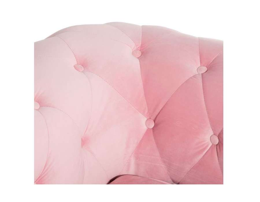 Canapé chesterfield velours rose Elyo