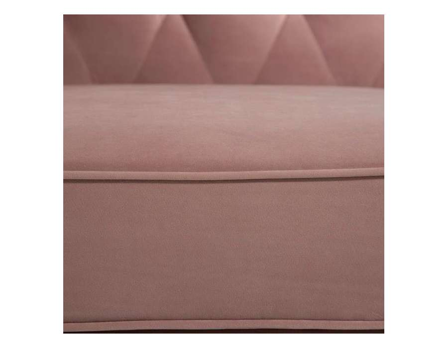 Canapé chesterfield velours vieux rose 3 places Elyo