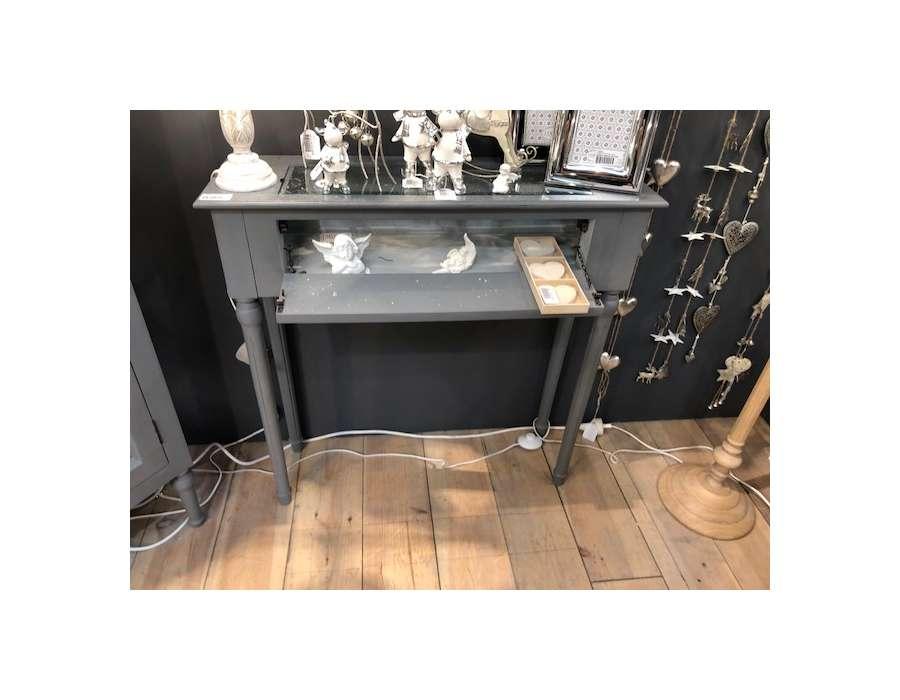 Console grise 80 cm plateau verre Adèle