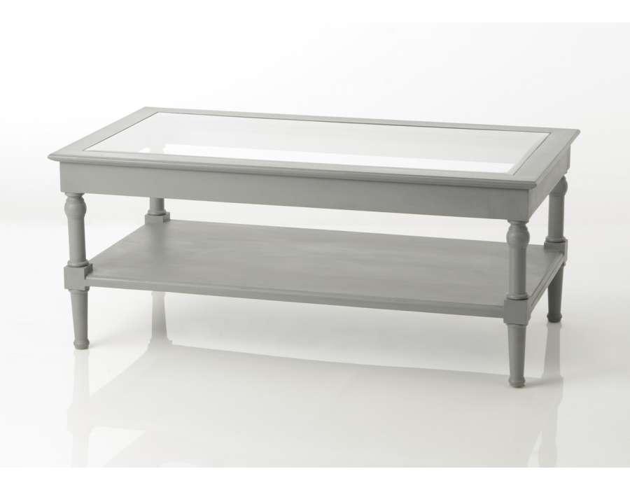 Table de salon grise vitrée Adèle