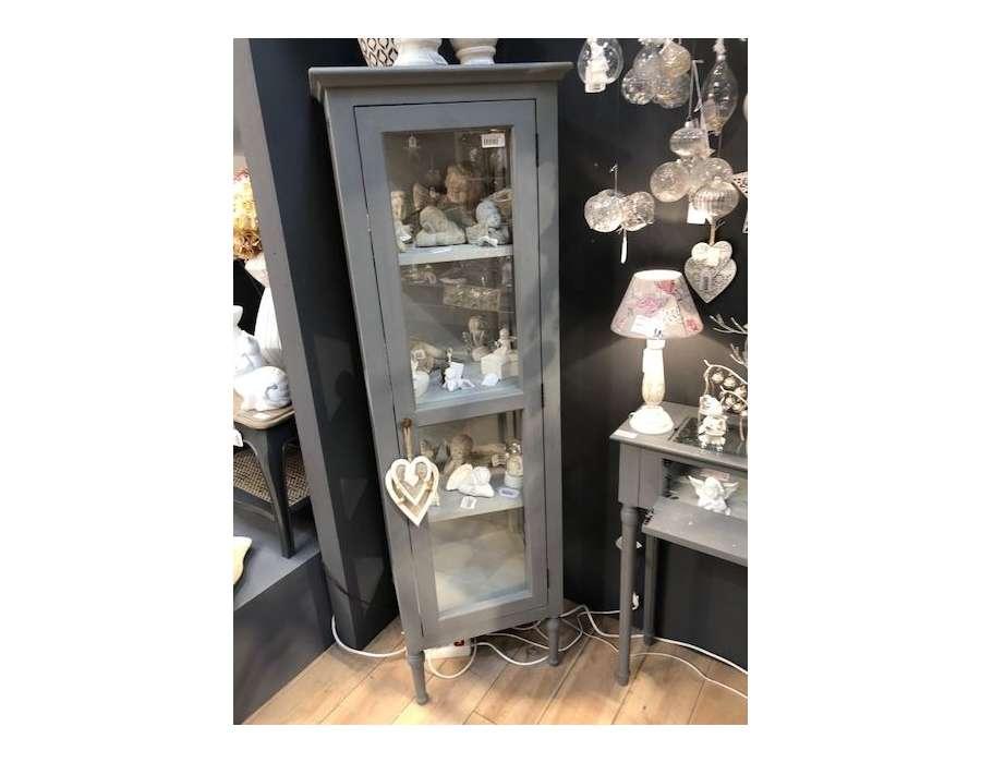 Meuble vitrine gris Adèle