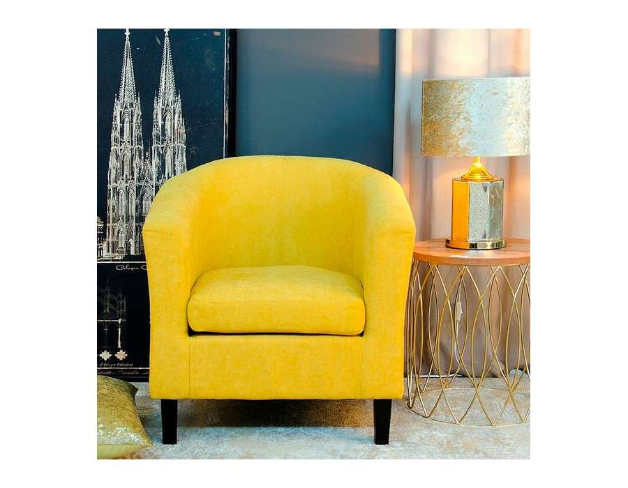 fauteuil de salon jaune moutarde arrondi pas cher. Black Bedroom Furniture Sets. Home Design Ideas