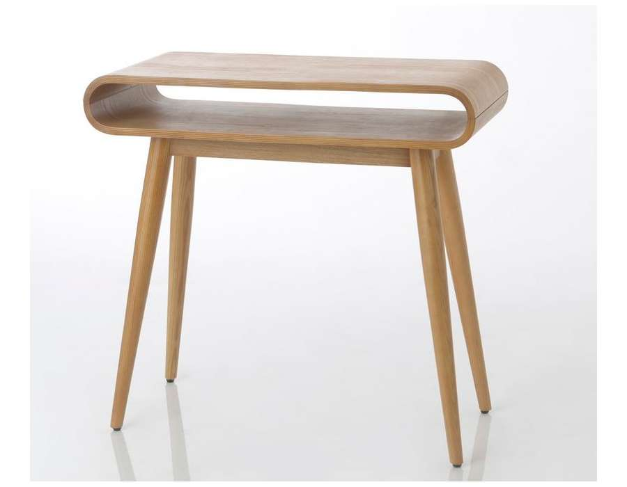 Petit bureau arrondi bois en fresne contemporain amadeus