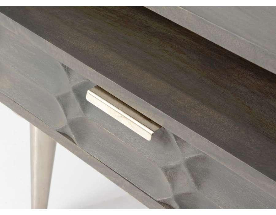 Table de nuit grise moderne relief