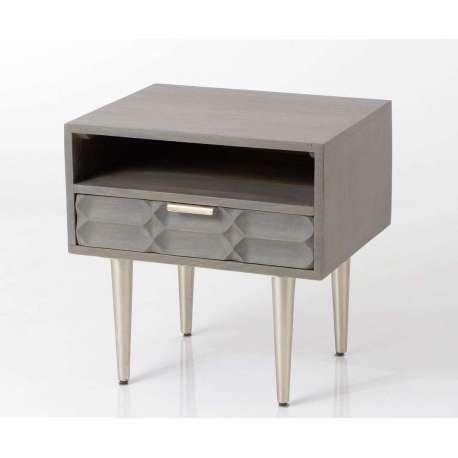 chevet gris contemporain relief amadeus. Black Bedroom Furniture Sets. Home Design Ideas