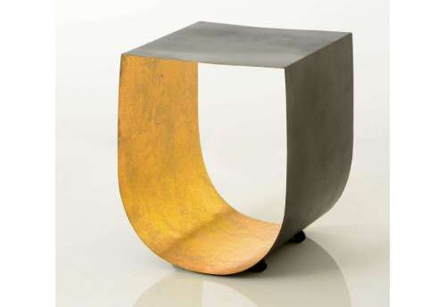 Bout de canapé design chic noir et doré arrondi Origami